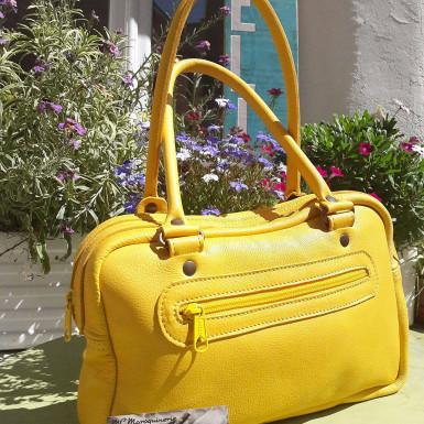 sac en cuir jaune